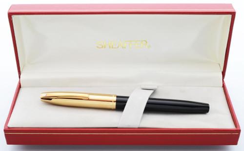 Sheaffer Triumph Imperial 2770 Fountain Pen (1990s) - Black w Electroplated Gold Cap, C/C, Fine GP Short Diamond Nib (New Old Stock in Box)