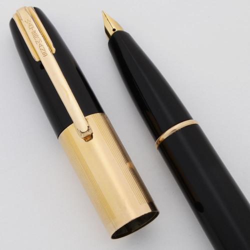 Waterman Taperite Citation Fountain Pen (Canada, 1940s) - Black, Lever Filler, Fine Taperite Nib (Excellent, Restored)