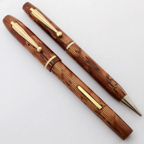Waterman Skywriter Canada Fountain Pen and Pencil Set (1930s/40s) - Orange Striated, Medium Semi-Flex  Nib (Excellent, Restored)