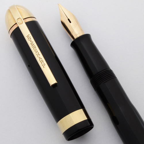 Eversharp Skyline Fountain Pen - Black w Wide Band, Gold Derby, Medium Flexible Nib (Excellent, Restored)