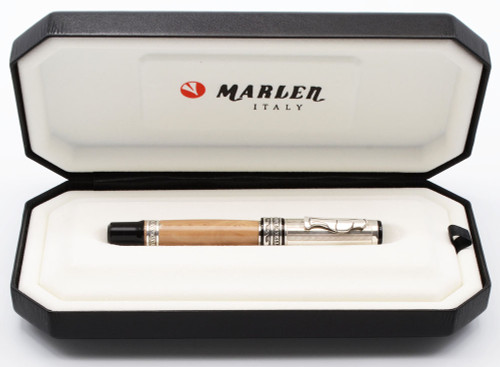 Marlen Castellone Fountain Pen - Lt Brown Marbled Resin w Sterling Trim, 18k Broad Nib (Near Mint in Box, Works Well)