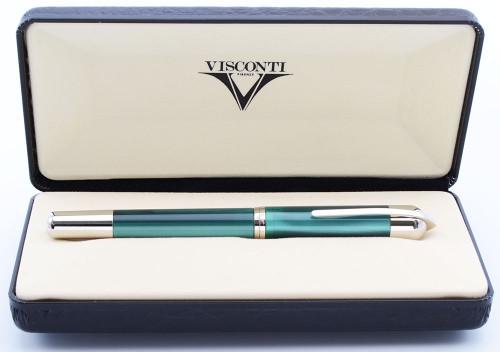 Visconti Pericle Fountain Pen (2001) - Second Version, Pearlescent Green w CP Trim, Fine Steel Nib (Near Mint in Box, Works Well)
