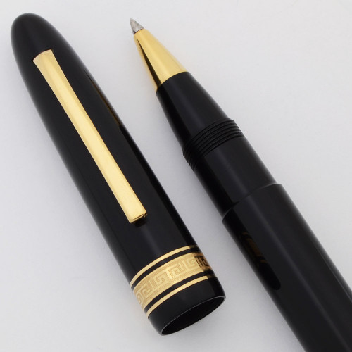 Omas Ogiva Oversize Rollerball Pen (1980s) - Black w Gold Trim (Excellent +, Works Well)