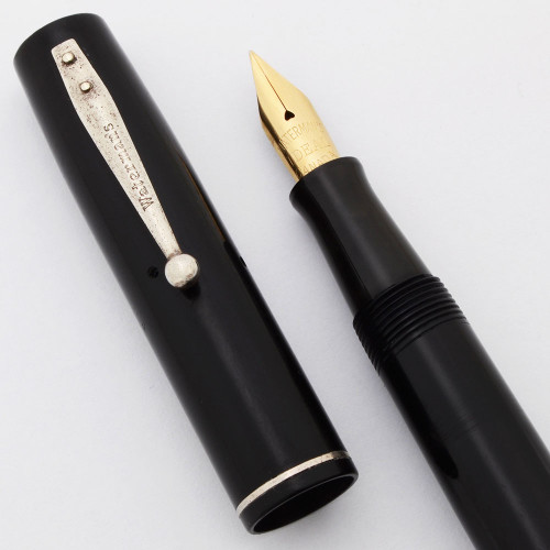 Waterman 32 Fountain Pen (Canada, 1940s) - Full Size, Black, Steel Trim,  Flexible Fine Ideal Nib (Very Nice, Restored)