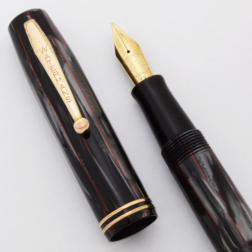 Waterman 92-A Fountain Pen (Canada, 1930s) - Grey Marble w/Red Lines, Lever Filler, 14k Flexible #2 Ideal Nib (Excellent, Restored)