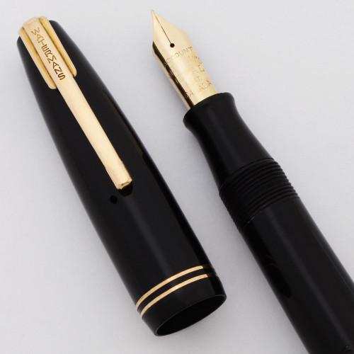 Waterman Stalwart Fountain Pen (Canada, 1940s) - Black w Gold Trim, Fine Account 14k Nib (Excellent +, Restored)