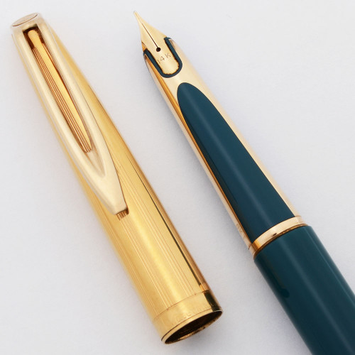 Waterman CF Fountain Pen (UK, 1950s) - Teal w Gold Plated Cap, 14k Fine, Converter (Excellent, Works Well)