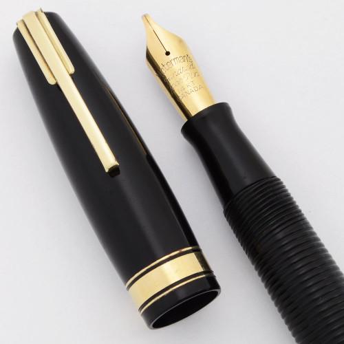 Waterman Ladies' Hundred Year Pen (Canada, 1940s) - Black w Ribbed Barrel, Semi-Flex Italic Nib (Very Nice, Restored)