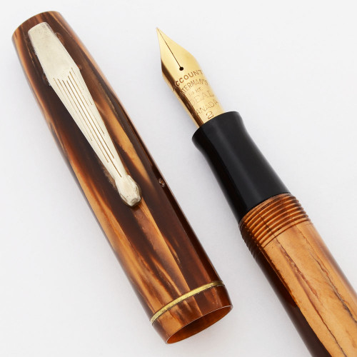 Waterman Skywriter Canada Fountain Pen - Brown Marble, EF 14kt Account Nib (Excellent, Restored)