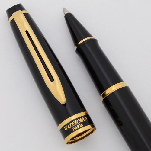 Waterman Expert II Rollerball Pen - Black Lacquer, GT (Excellent , Works Well)