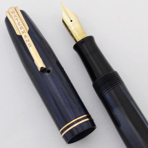 Waterman Starlet Fountain Pen (Canada, 1940s) - Blue Marble,  Flexible Fine Ideal Canada 14k #2A Nib (Very Nice, Restored)