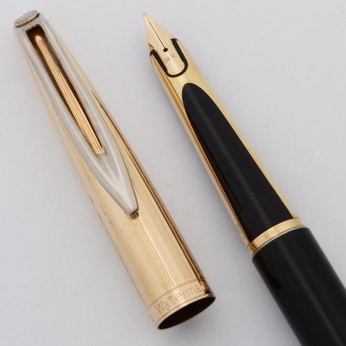 Waterman CF Fountain Pen (Canada, 1950s) - Black w Gold Plated Cap, 14k Medium (Very Nice, Works Well)