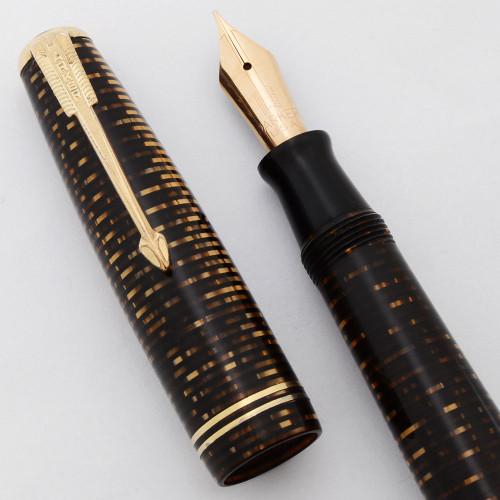 Parker Vacumatic Junior Fountain Pen (1941) - Double Jewel, Brown Pearl, Fine (Very Nice, Restored)