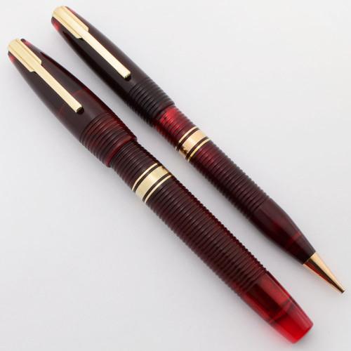 Waterman Hundred Year Pen Set (Canada, 1940s) -  Standard Size, Red Transparent Ribbed, Lever Filler, Flexible Fine (Excellent, Restored)
