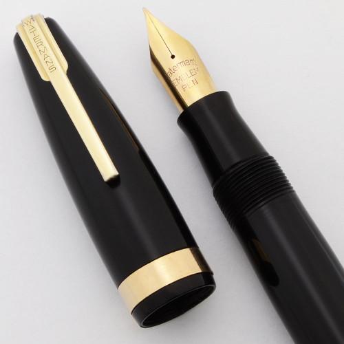 Waterman 100 Year Emblem Fountain Pen (1940s) - Black, Fine Flexible 14k Nib (Excellent +, Restored)