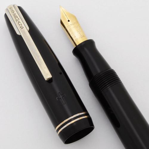 "Waterman Stalwart ""Clerical "" Fountain Pen (1940s,Canada) - Black w Chrome Trim, Account Ideal 14k nib (Excellent, Restored)"