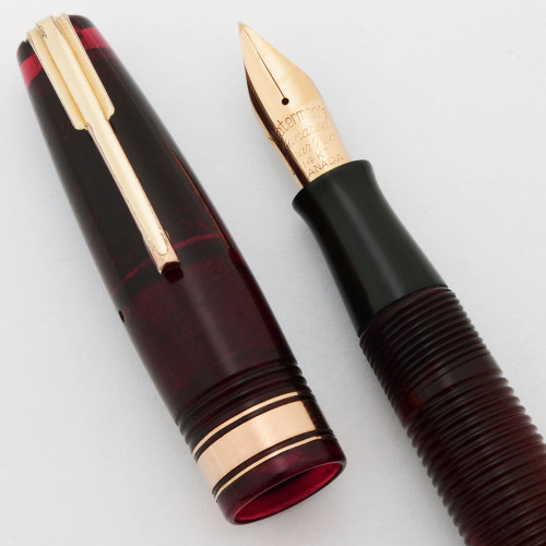 Waterman Ladies' Hundred Year Pen (Canada, 1940) - Transparent Red Ribbed, Flexible Hundred Year 14k Canada Nib (Excellent, Restored)