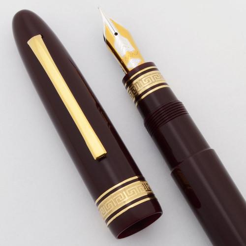 Omas 557-S Extra Ogiva Fountain Pen (1980s) - Oversize, Brown w/GT, Piston Fill, 18k Medium Nib (New Old Stock in Box,  Works Well)
