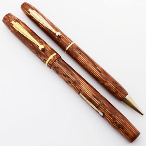 Waterman Skywriter Canada Fountain Pen Set (1930s/40s) - Orange Striated, Medium Flexible #2A  Nib (Excellent, Restored)