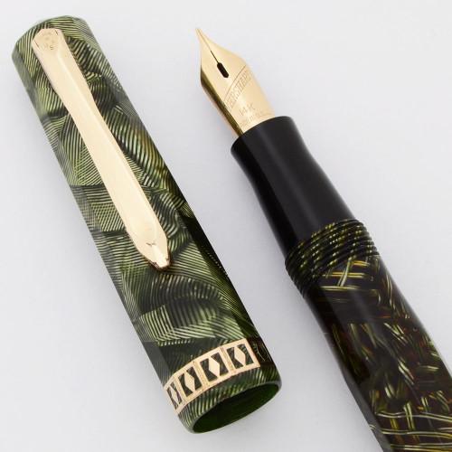 Wahl Doric I Fountain Pen (1930s) - Junior Size,  Green Shell, Vac-Fil, 14k Fine Manifold Nib (Excellent +, Restored)