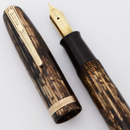 Moore 94-A Fountain Pen (1940s) - Brown and Copper Striped Marble, 14k Fine Life Maniflex Nib (Excellent, Restored)