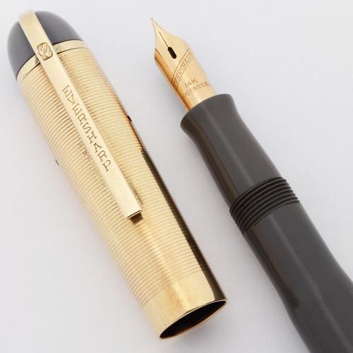 Eversharp Skyline Demi Fountain Pen (1940's) - Grey w Gold Cap, Fine Manifold 14k Nib (Superior, Restored)