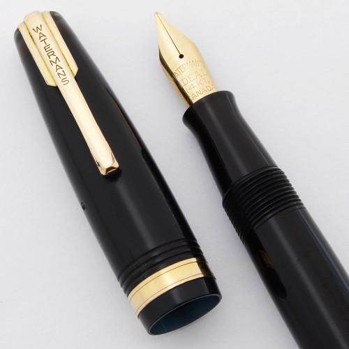 Waterman Fountain Pen (Canada, 1940s) - Black,  Small Size, Flexible Medium Ideal Canada 14k #2A Nib (Very Nice, Restored)