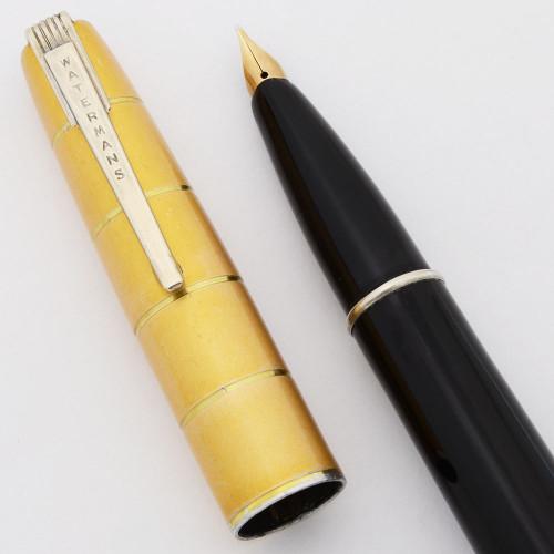 Waterman Crusader Taperite Fountain Pen (Canada, 1940s) - Black w GT Cap, Lever Filler, Fine Semi-Flex Nib (Excellent, Restored)