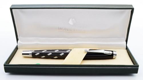 Monteverde Invincia Deluxe Fountain Pen - Black/White Basketweave, Medium Iridium Point Nib (Near Mint in Box, Works Well)