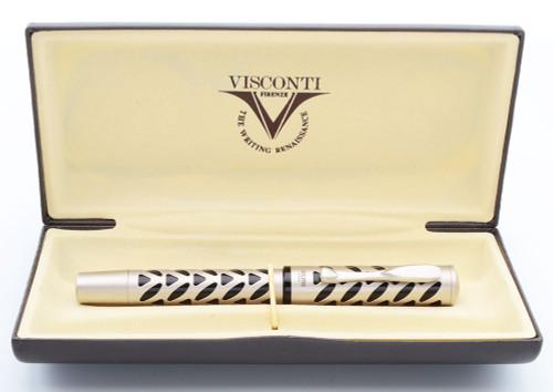 Visconti Skeleton Ag 925 Fountain Pen (2005) - Titanium over Sterling, Black Lucite, C/C, 14k Medium Nib (Excellent + in Box, Works Well)