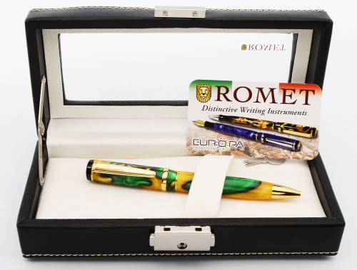 Romet Europa Ballpoint Pen - Green & Gold Acrylic (Excellent in Box, Works Well)