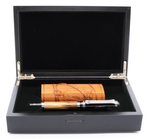 """Duke """"Confucius""""  Fountain Pen - Bamboo with Black Lacquer Cap,  C/C,  Medium Steel  Nib (Mint in Box)"""
