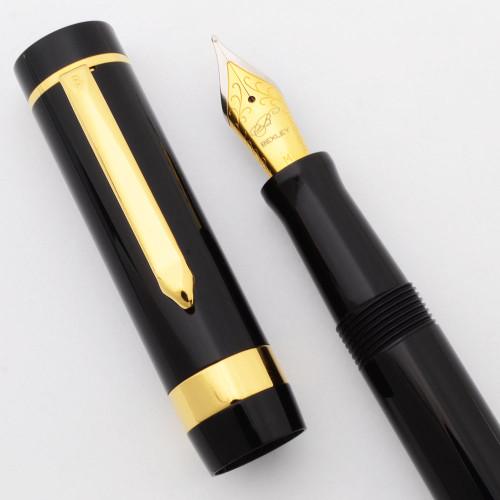 Bexley Corona (?) Fountain Pen - Black w/GT, C/C, Medium Steel Nib (Excellent +, Works Well)