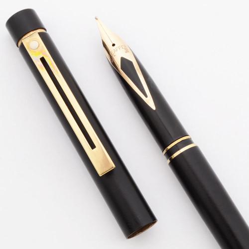 Sheaffer TARGA 1003S Slim Fountain Pen  (1982-88) - Matte Black, Medium 14k Nib (Excellent, Works Well)