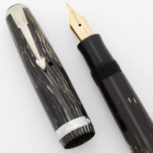 Parker Vacumatic Junior Debutante (or Sub-Deb) Shadow Wave Fountain Pen (Canada, 1938) -  Grey, Vacumatic 14k Flexible Nib, Speedline Filler (Excellent, Restored)