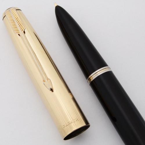 Parker 51 Vacumatic (1948) - Black w Gold Filled Cap, Medium 14k Nib (Excellent, Restored)