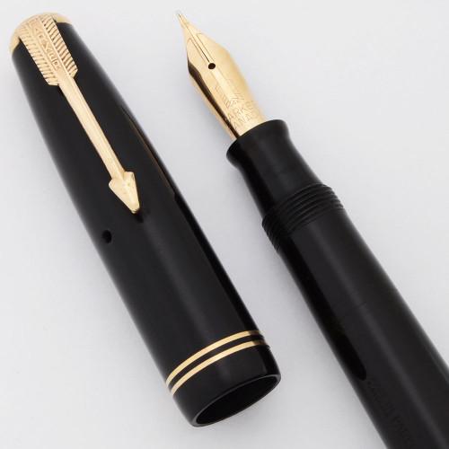 Parker Vacumatic Long Junior Fountain Pen (Canada 1945) -  Black, 14k Flexible Fine Canada Nib (Excellent +,  Restored)