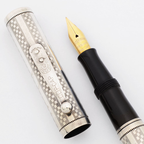 """Waterman 414 PSF - Sterling  """"Gothic"""" Checkerboard, Lever Filler, Fine Flexible #4 Nib (Excellent, Restored)"""
