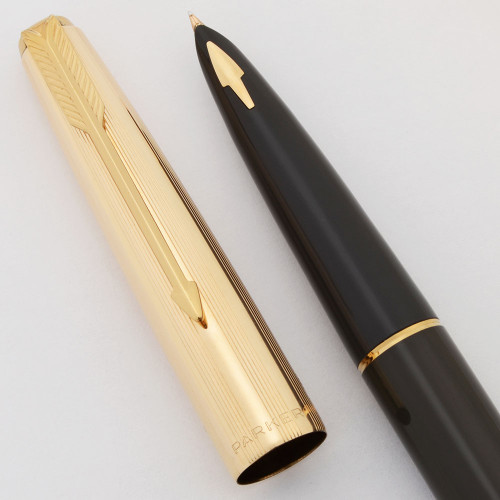 Parker 61 Fountain Pen Mk II (1962-69) - Grey w Gold Filled Cap, Medium-Fine (Excellent in Box, Works Well)
