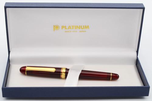 Platinum 3776 Century Fountain Pen (2011-17) - Burgundy w Gold Trim, 14k Fine Nib (Excellent +,  in Box, Works Well)