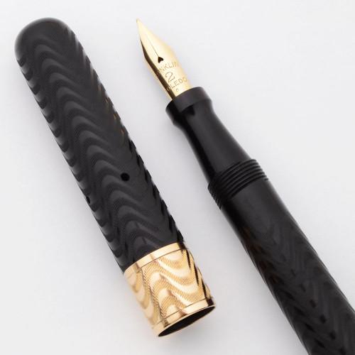 Conklin Crescent 20 Fountain Pen - BCHR, Clipless w Ornate Cap Band, Fine #2 Flexible 14k Nib (Superior, Restored)