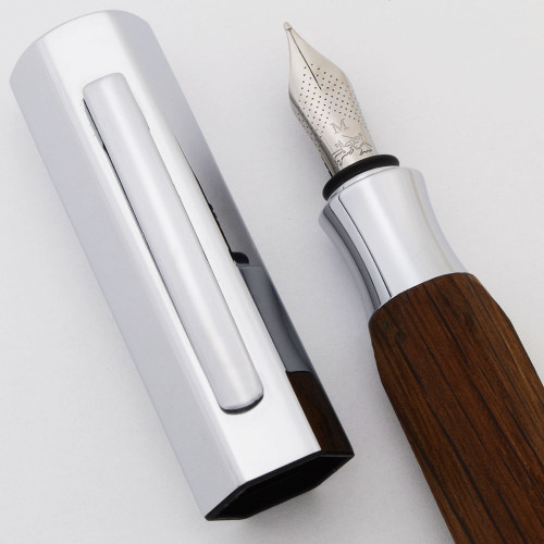 Faber-Castell Ondoro Fountain Pen - Smoked Oak, Chrome Cap, Medium Nib (Excellent , Works Well)