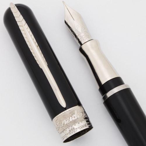 Pineider Avatar UltraResin Fountain Pen (2019) - Deep Black w/Chrome Trim, Fine Steel Nib (Excellent,  Works Well)