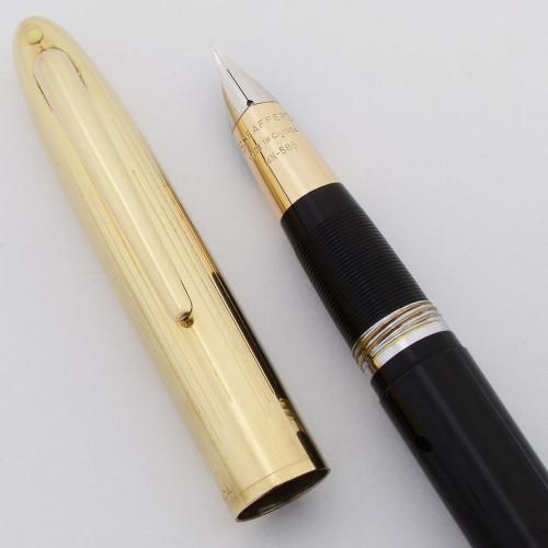 Sheaffer Snorkel Crest Fountain Pen (Canada) - Jet Black w Gold Cap, Snorkel, Medium 14k Triumph Nib (Excellent + , Restored)