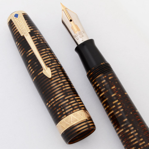 "Parker Vacumatic ""Long Major"" Fountain Pen (Canada, 1940) - Burgundy Pearl, Plastic Filler, Medium-Fine Nib (Very Nice, Restored)"