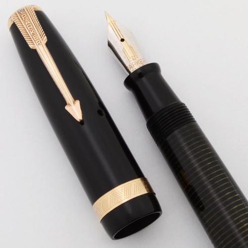 Parker Vacumatic Long Major Fountain Pen (Canada, 1945) - Black, Flexible Fine Nib (Excellent, Restored)