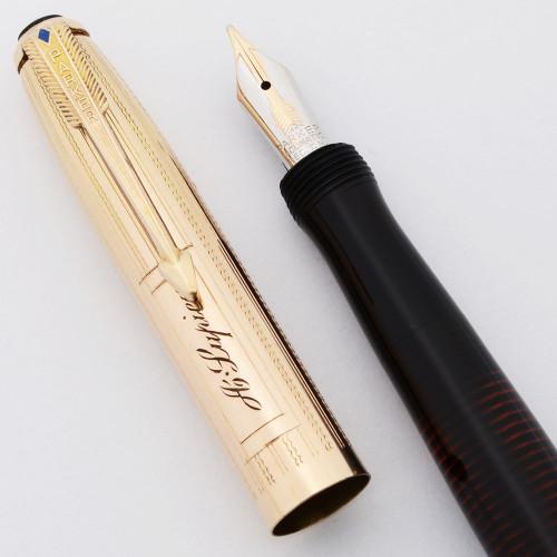 Parker Imperial Vacumatic Demi Fountain Pen (Canada, 1941) - Black w Gold Filled Wavy Lines Cap, Medium 14k Nib (Excellent, Restored)