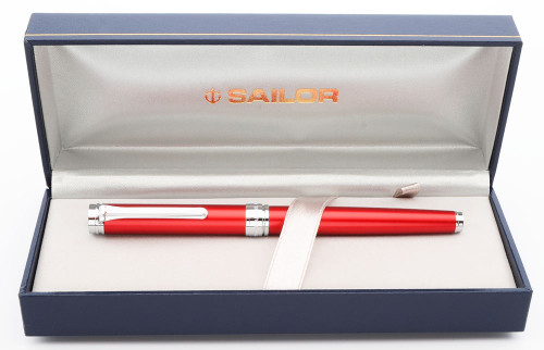 Sailor Barcarolle Fountain Pen - Gloss Red w/Silver Trim, C/C,  14k H-F Nib (New in Box, Never Inked)