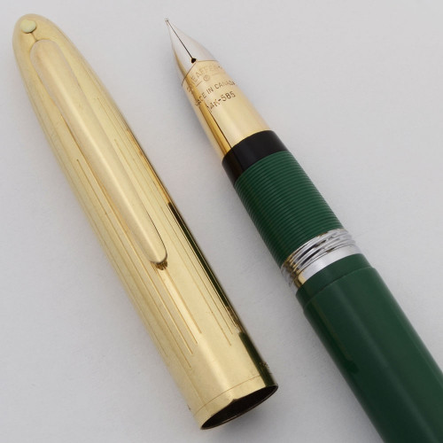 Sheaffer Crest Fountain Pen (1952-59, Canada) - Snorkel, Pastel Green w/Gold Cap, Snorkel, Fine 14k Canada Nib (Excellent +, Restored)