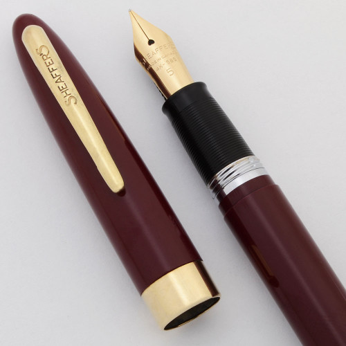Sheaffer Admiral Snorkel Fountain Pen (1952-59) - Burgundy w/GP Trim, Medium 14k #5 Canada Nib (Excellent, Restored)